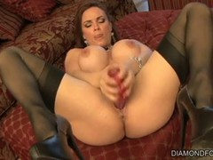 Diamond Foxxx has gotten her hands on a monster dildo that can make her feel good