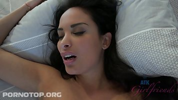 Sexy woman with big tits and dark hair, Anissa Kate got a dick inside her tight ass