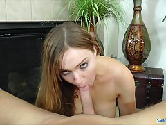 Sweet Tiff Bannister seduced her sister's boyfriend and gave him a deep blowjob in the living room