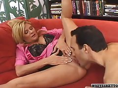 Ginger Lynn is a therapist eager to fuck her stud of a patient on her red couch