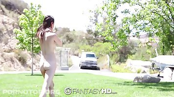 Cock loving girlfriend, Veronica Radke and her handsome guy are fucking, while in the backyard